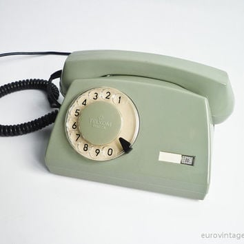 Vintage NEW Rotary Phone Dial Telephone Military Green 80s