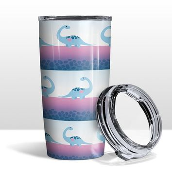 Brontosaurus Tumbler Cup - Cute Blue Dinosaurs with Pink Heart - 20oz Insulated with Clear Lid - Hot or Cold Beverages - Made to Order