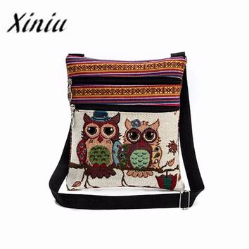 Womens Owl Embroidery Patchwork Bag