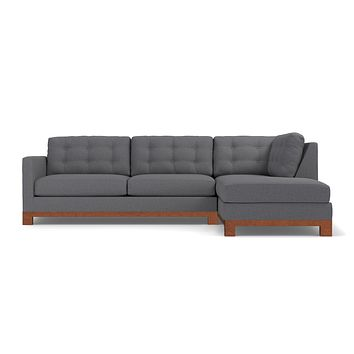 Logan Drive 2pc Sleeper Sectional Sofa :: Leg Finish: Pecan / Configuration: RAF - Chaise on the Right / Sleeper Option: Memory Foam Mattress