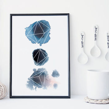 Watercolor geometric wall art, art print, modern poster, minimal print, modern blue print, home wall decor, splatter, gems, crystal