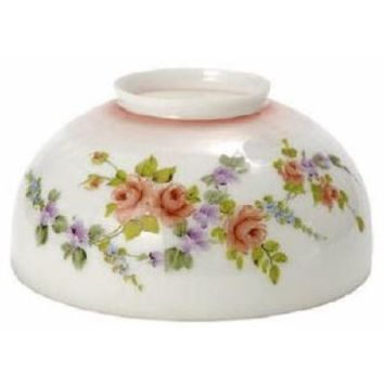 """63438 - Opal Pink Tint With Floral Lamp Shade 7"""" H X 6"""" T X 14"""" D"""