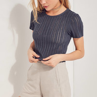Kimchi Blue Pointelle Cropped Sweater | Urban Outfitters