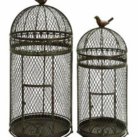 """Benzara Metal 30"""" Bird Cage Crafted with Neted Pattern - Set of 2"""