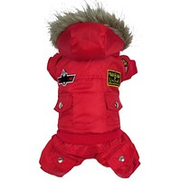 Hot Winter Dog Pet Coat Clothes Padded Hoodie Jumpsuit Pants Costumes XS-XL WX