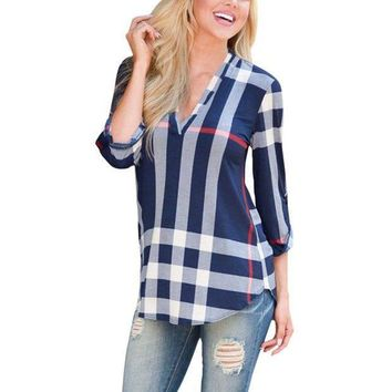 DCCKHQ6 2017 Autumn Fashion Ladies Top V Neck Tops Tee Plaid Women Blouse Shirt Three-quarter Sleeve Casual Feminine Blouses