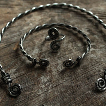 Viking Queen jewelry set I • Torque necklace • Silver torque • Celtic toque • Viking bracelet • Celtic cuff •Viking ring • Nordic jewlery