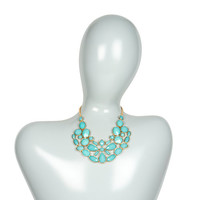 Madison Mint Teardrops and Ovals Statement Necklace