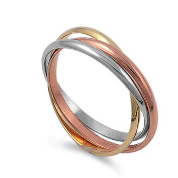 925 Sterling Silver Tri Color 3MM Band Set of 3 Ring