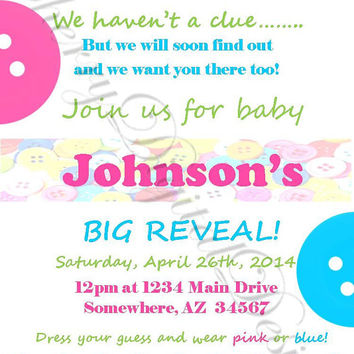 Printable Button Gender Reveal Baby Shower Invitation. Pink, Turquoise, Yellow.  Gender Reveal Party invite. Custom Gender Reveal Invitation