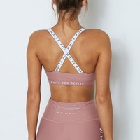 Poppy Logo Sports Bra Dusty Rose