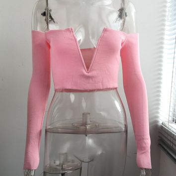 Plunge Crop Top with Sleeves