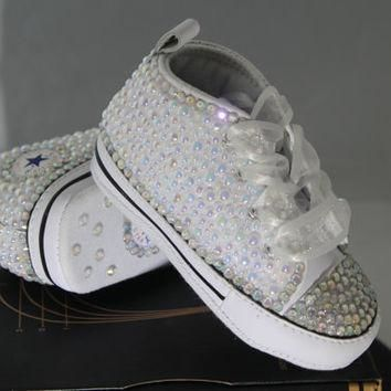 Baby- Infant- Baptism- Christening- Custom Converse- Crystal/ Pearl Studded Shoes- Bab