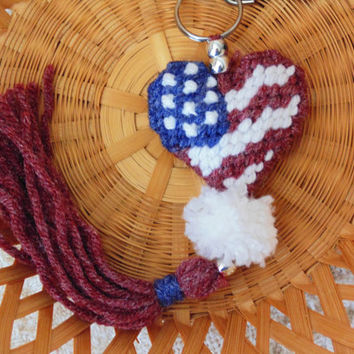 Patriotic Heart Clip Charm Americana Key Chain Needle Art Tassel Key Chain Needlepoint Heart Bag Clip