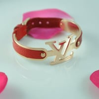 Louis Vuitton Inspired Leather Bracelet, Red Leather