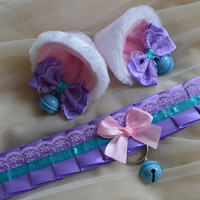 Kitten play collar and ears - Lavender kitten - ddlg princess cute sweet kawaii lolita costume - turquoise blue and pastel pink choker set