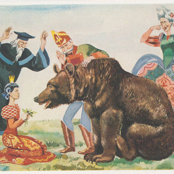 S. Marshak's Tales, Illustrations by G. Sundarev. Complete Set of 16 Prints in original cover -- 1985, thin paper