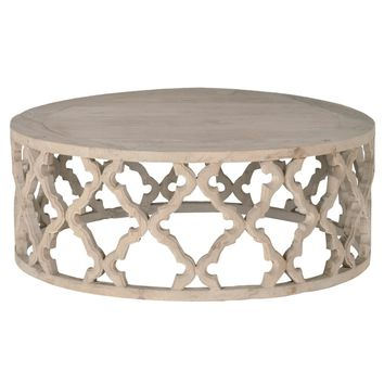 Round Wooden Coffee Table In Quatrefoil Cutout Design, Brown