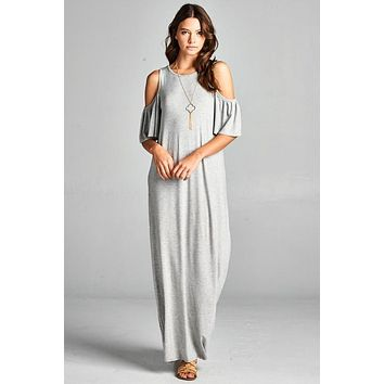 Cold Shoulder Casual Maxi Dress - Gray