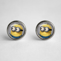 Handmade Despicable Me 2 Minion meme glass cabochon dome Earrings Ear Studs
