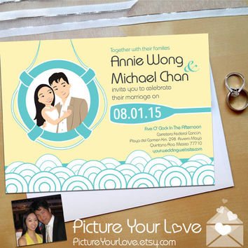 Wedding Invitation Cards: Beach Wedding Invitations with Your Custom Cartoon Portrait, Summer Wedding, Destination Wedding, Nautical Wedding