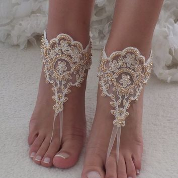 Ivory Gold barefoot sandals wedding shoes lace shoes Beach wedding barefoot sandals beach Wedding Shoes Bridal sandals