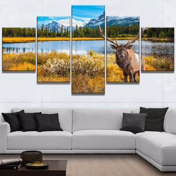 Elk Mountains Wildlife Nature Five Piece Canvas Wall Art Home Decor
