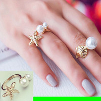 Starfish And Double Pearl Cuff Ring (Slightly Adjustable)