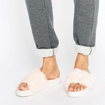 ASOS FLUFFIE Faux Fur Sliders at asos.com