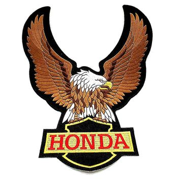 Customized eagle embroidery badges HONDA  motorcycles badges embroidered, 8inch x 10inch,price for 1piece badges