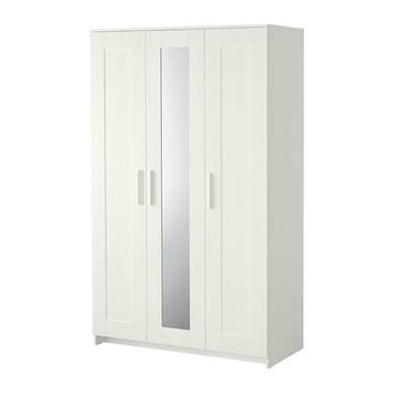 "BRIMNES Wardrobe with 3 doors, white - 46x74 3/4 "" - IKEA"
