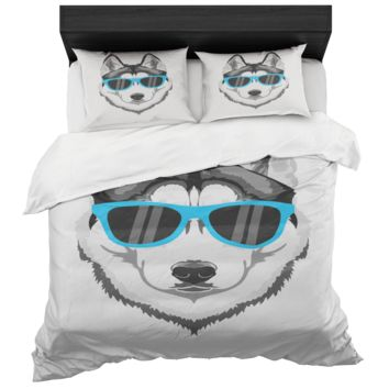 Siberian Husky Duvet Cover Bed In A Box Bedroom Set King And Queen Size Microfiber Fabric