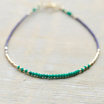Malachite and lapis lazuli gold beaded bracelet - stackable jewelry