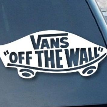 "Vans Off the Wall Car Window Vinyl Decal Sticker 7"" Wide (Color: White)"