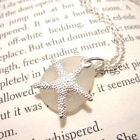 Sea Glass Bridesmaid Starfish Necklace in Seafoam white Perfect Jewelry for a Beach Wedding