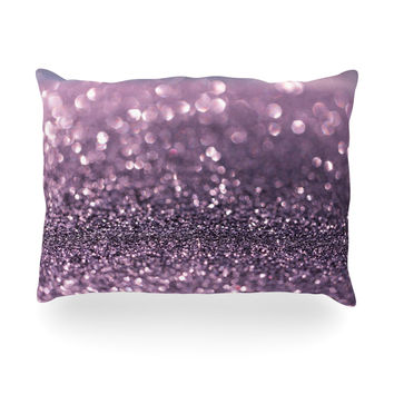 "Debbra Obertanec ""Lavender Sparkle"" Purple Glitter Oblong Pillow"