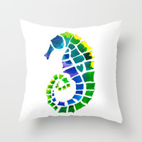 Seahorse Love Throw Pillow by Catherine Holcombe | Society6