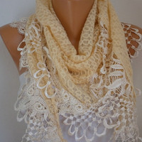 Yellow Scarf    Headband Necklace Cowl with Lace Edge by fatwoman-s13