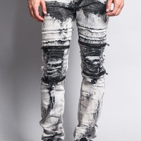 Bleach Washed Biker Denim Jeans DL1072 - II1C
