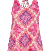 multicolor patterned tank with lattice back