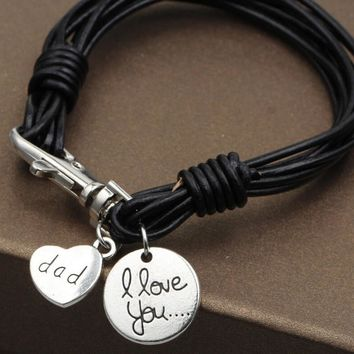 "Men Bracelets ""I Love You Dad"" Silver Heart Black Leather Braided Bracelet Gift + Gift Box"