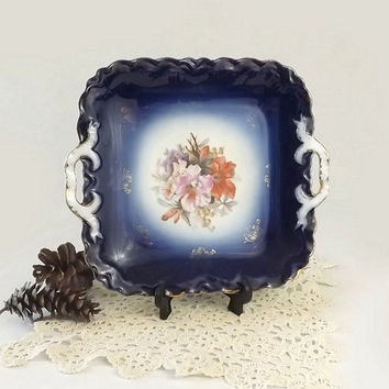 PM Bavaria Cobalt Flow Blue Tray, Vintage Double Handled Floral Serving Tray, Wedding Cookie or Cake Plate