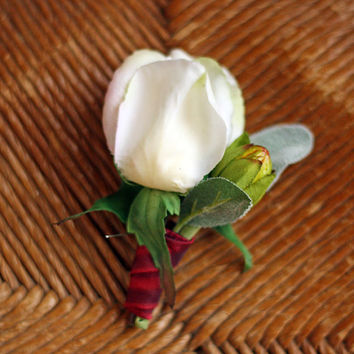White Rose Bud Mens Wedding Boutonniere