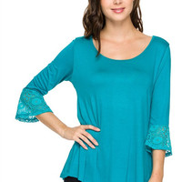 Plus Size Heavy Rayon Lace Contrast 3/4 Bell Sleeve Piko Top