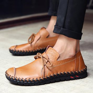 2018 Designer Shoes Male Handmade Leather Shoes Flats Men Lace Up Lofers Moccasins Men Casual Shoes Adult Men Footwear 36-47