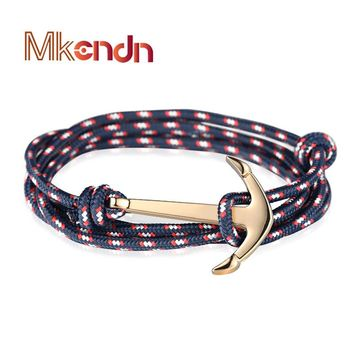 High quality Retro Bracelets Fashion Jewelry 40cm Leather Bracelet Anchor Bracelets
