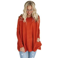 Orange Oversize Fit Pocket Sweater Tunic