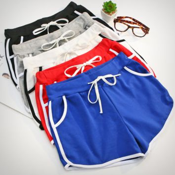 Fashion women Home shorts edge white  Leisurely short pants sports pants
