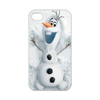 Custom Disney 3D Movie Frozen Olaf Hard Case for iPhone 4,4S 100% TPU (Laser Technology)