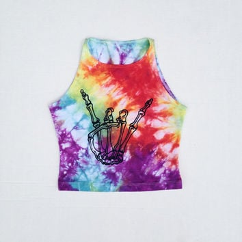 Tie Dye Skeleton Hand Rave Crop Top Tye Dye Tumblr Cropped Top Size Small